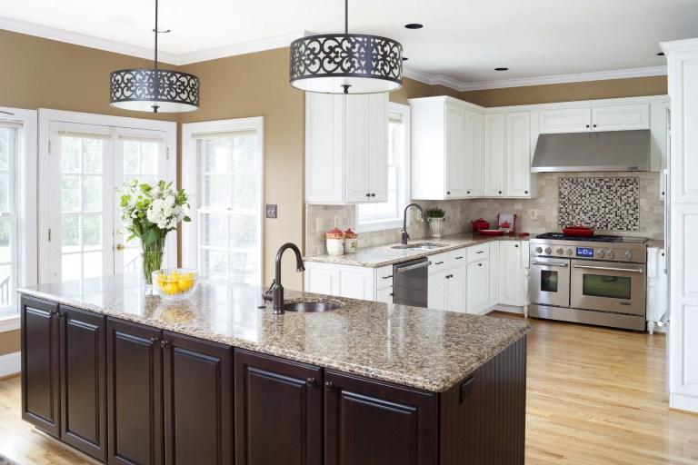 kitchen island with mini sink pendant lighting glass french doors