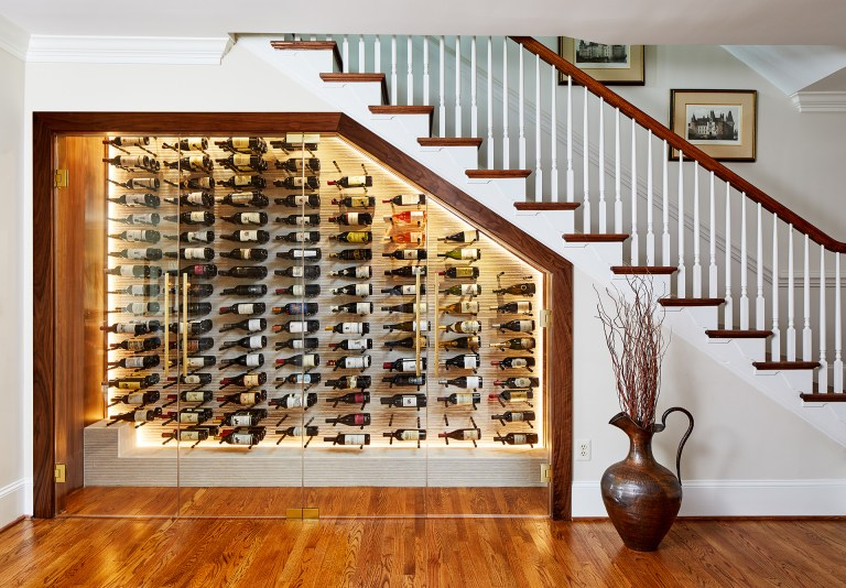 interior home remodeling of wine cellar built under staircase