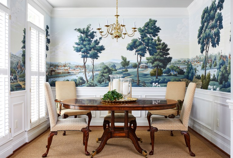custom decorated mural wall facing dining room table