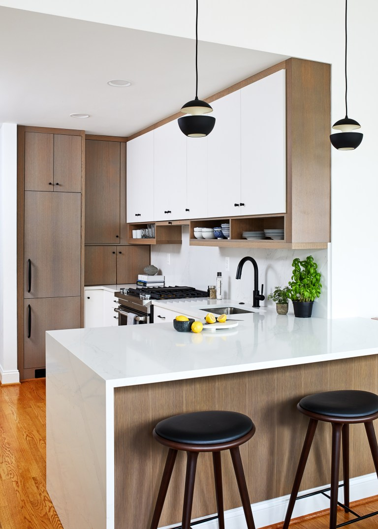 kitchen design ideas with two tone cabinets white with light brown and white counter with wood stool set