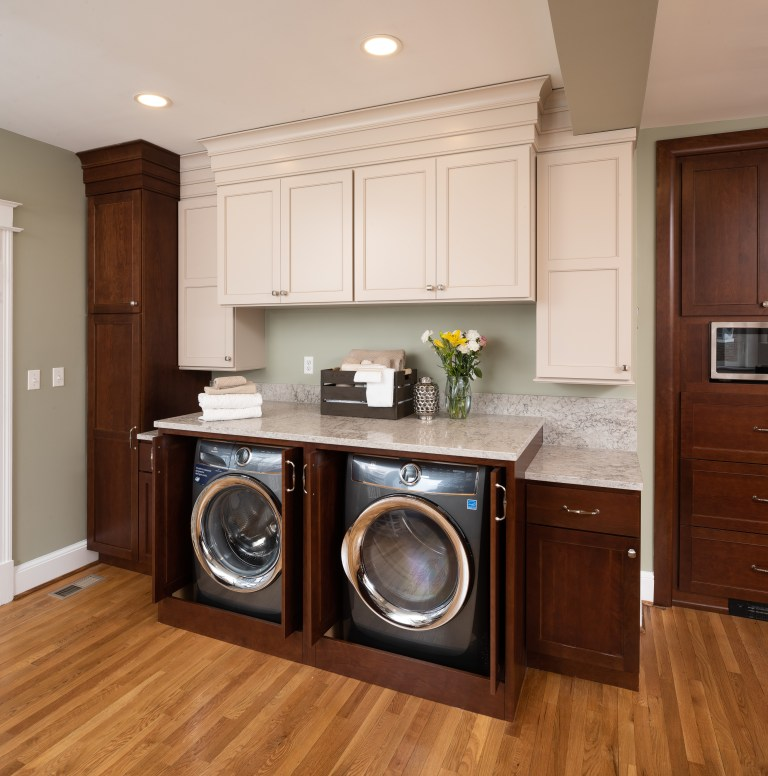 hidden washer and dryer cabinet can be tucked away