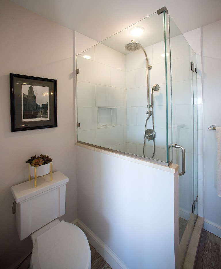 bathroom renovation all white separate shower stall with glass walls
