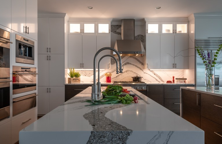 white tall cabinets with high power led under cabinet lighting