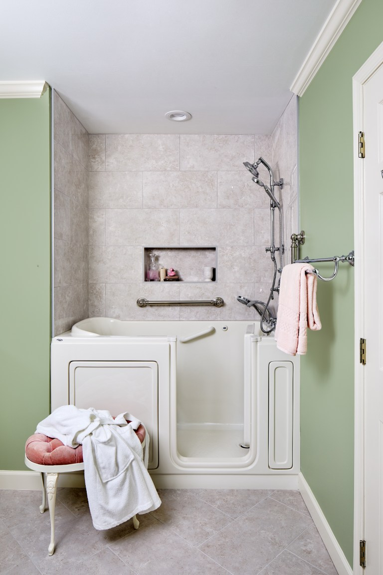 traditional bathroom in Virginia with walk-in combo massage tub with light above the tub