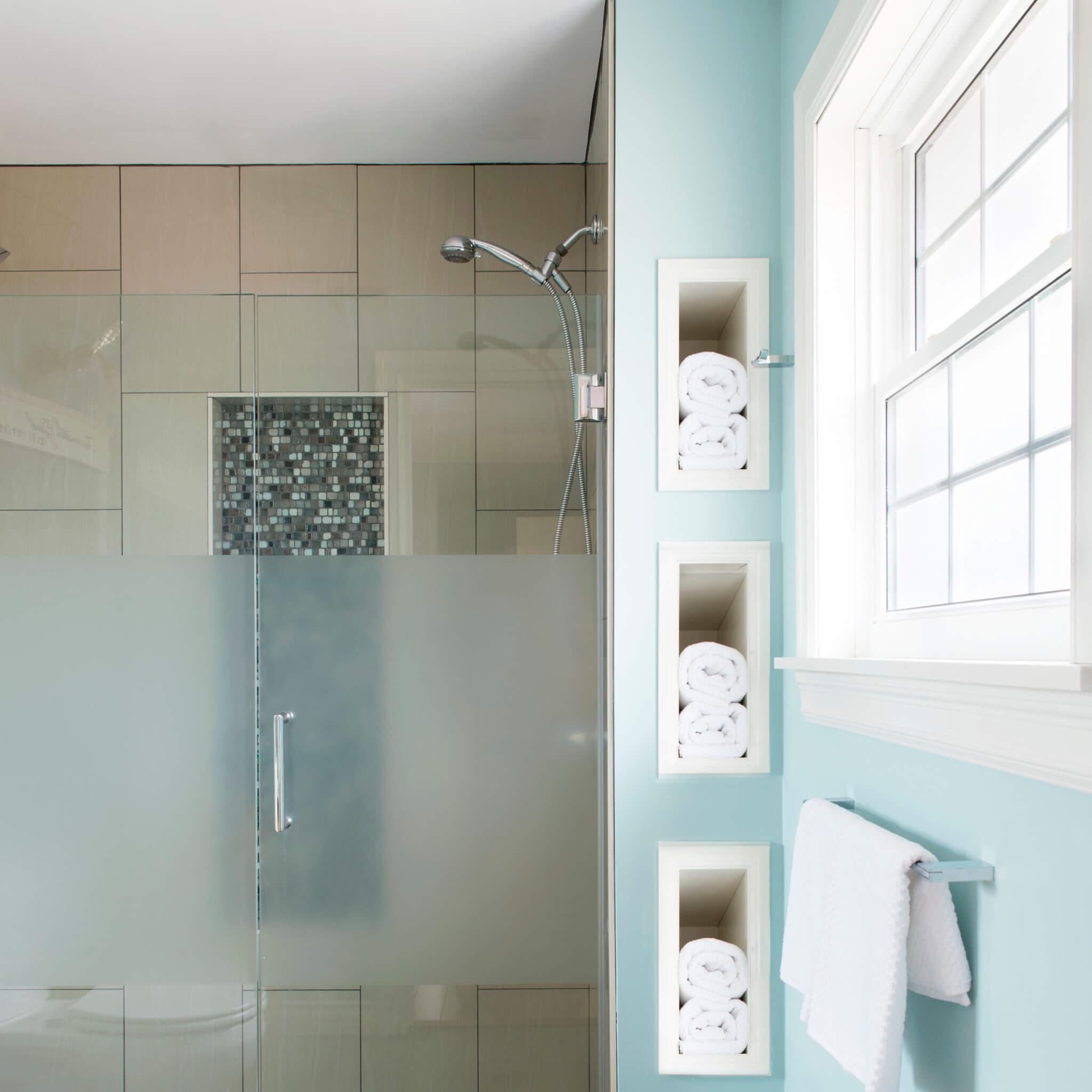 master ensuite walkin shower towel nooks