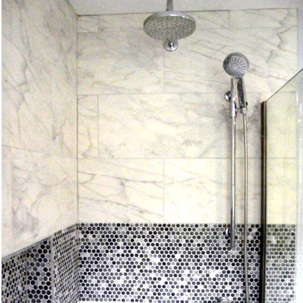 luxury bathroom porcelain marble tiles penny round accent
