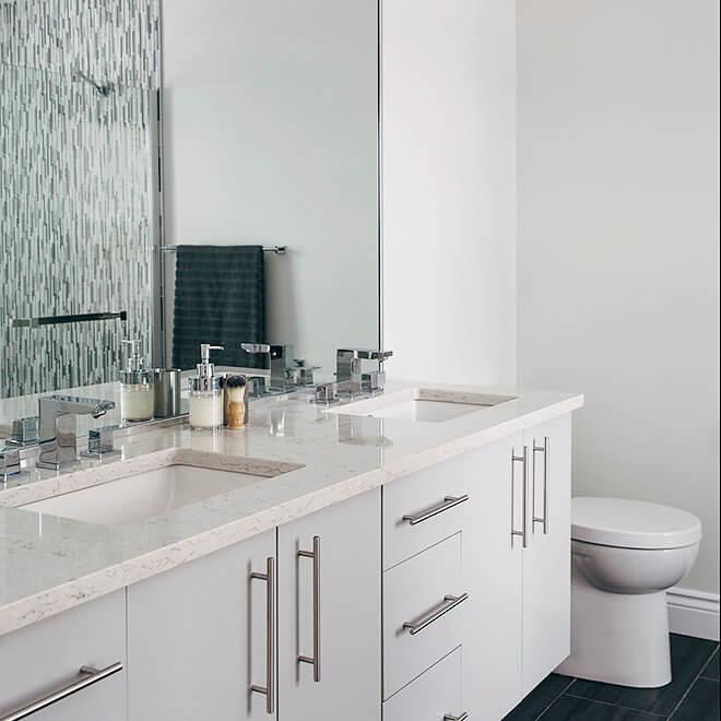 marble top floating vanity Halifax North End Bathroom Remodel