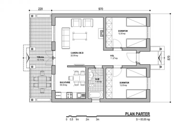 Proiecte de case mici fara etaj optiunea ideala for Proiect casa 2 camere living baie si bucatarie