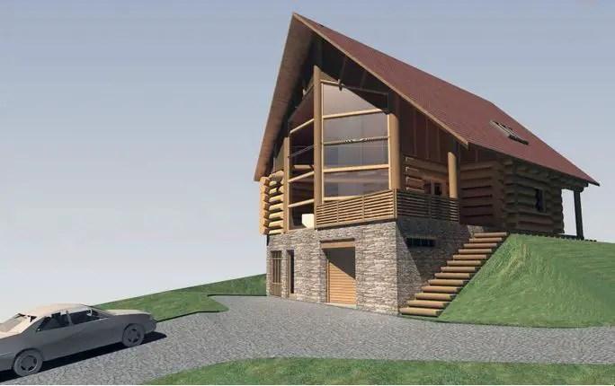 Modele de case din lemn si piatra rustice