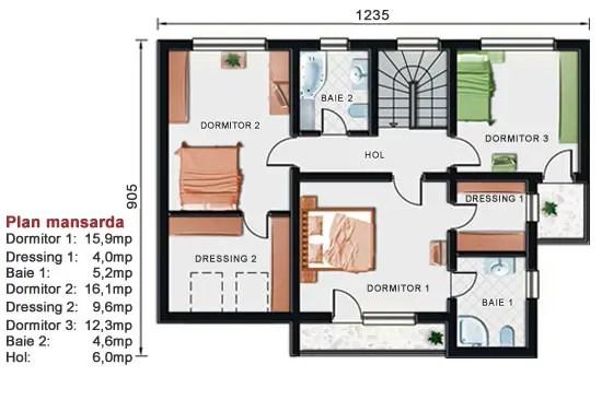 Proiecte de case cu etaj si terasa acoperita Two story house plans with covered patios 3