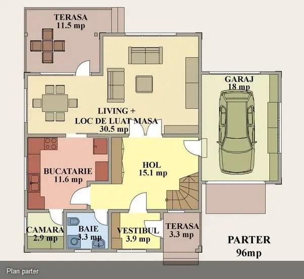 Proiecte case medii cu mansarda si garaj medium size house plans 7
