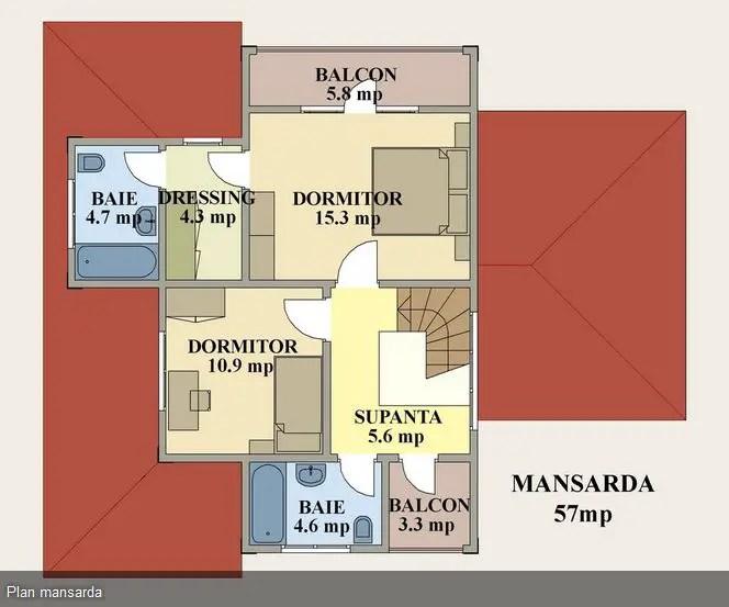 Proiecte case medii cu mansarda si garaj medium size house plans 8