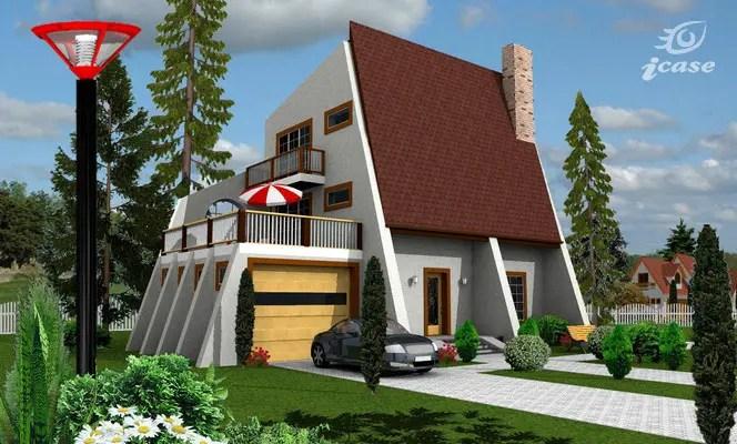 Proiecte de case moderne cu terasa deasupra garajului la parter