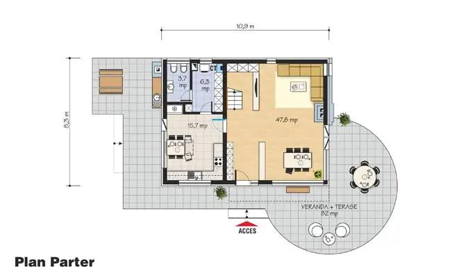 proiecte de case din piatra si lemn Wood and stone house plans 6