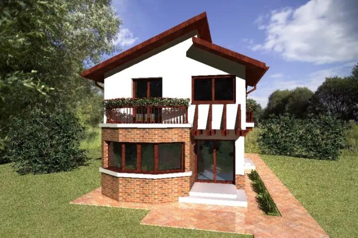 Case cu balcon rotund la etaj