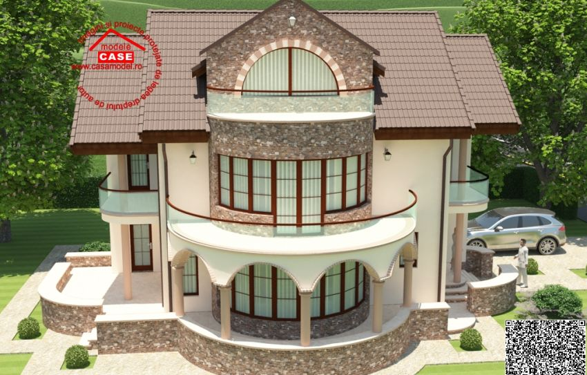 Case cu balcon rotund un design expresiv for Round home plans