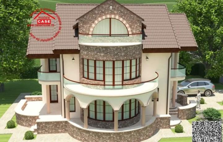 case cu balcon rotund round balcony house plans