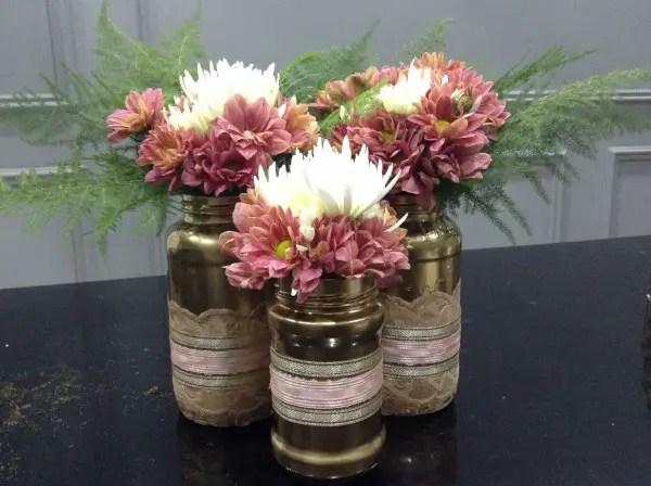 vaze din borcane facute in casa Mason jar flower vases 6