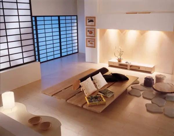 Amenajari interioare in stil japonez simplu
