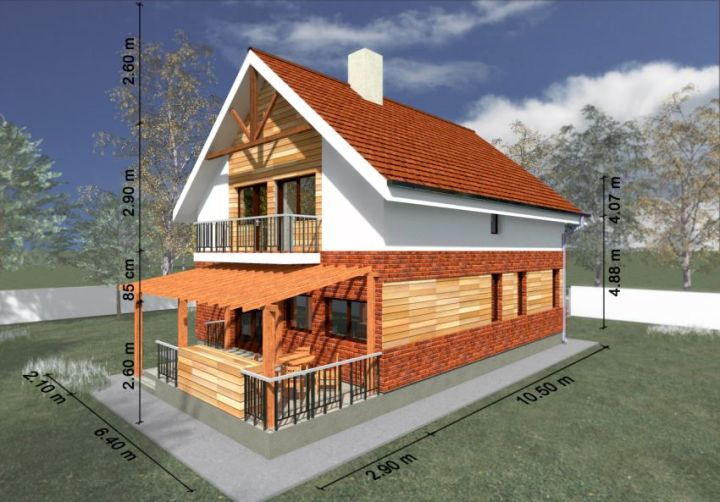 case mixte din caramida si lemn Brick and wooden structure houses 12