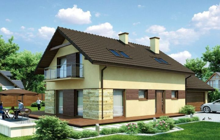 Case mixte din caramida si lemn elegante