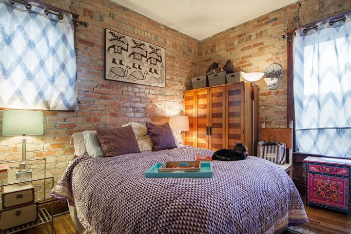 dormitoare cu pereti din caramida Bedrooms with brick walls 10