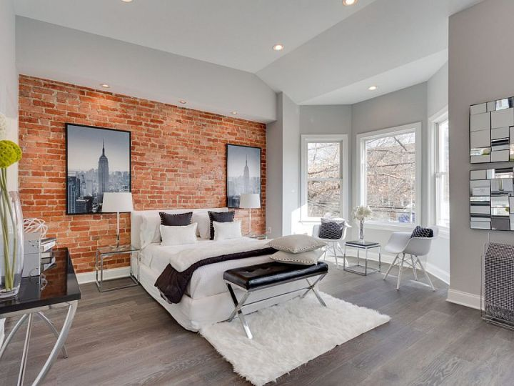 dormitoare cu pereti din caramida Bedrooms with brick walls 9