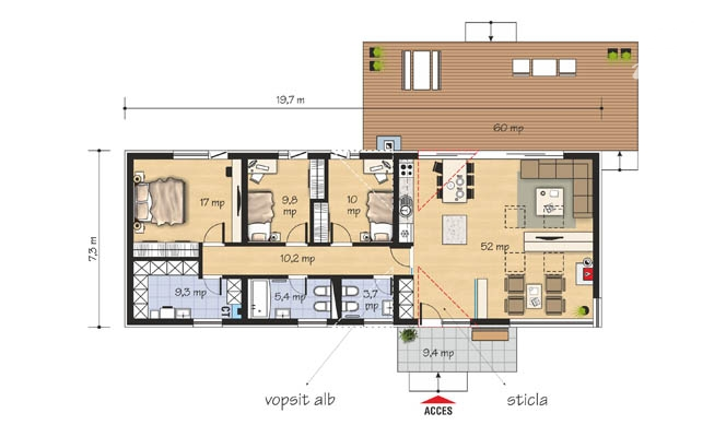 proiecte de case moderne pe un singur nivel Single level modern house plans 2