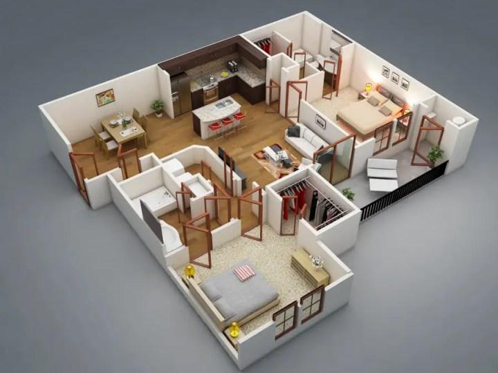 amenajarea unui apartament cu 3 camere 3 room apartment layouts 2