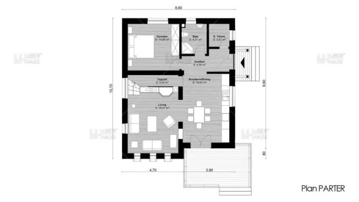proiecte de case cu mansarda cu patru camere Four room attic house plans 7