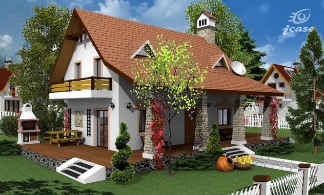 Proiecte de case cu mansarda cu patru camere elegante
