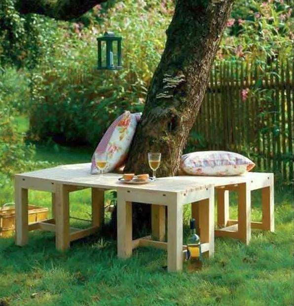 banci din lemn pentru gradina Garden wood benches ideas 11