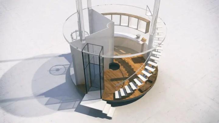 Casa din tubul de sticla - o felie din structura excentrica