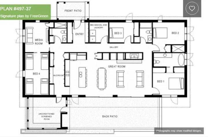 case fara etaj cu patru dormitoare Single story 4 bedroom house plans 7