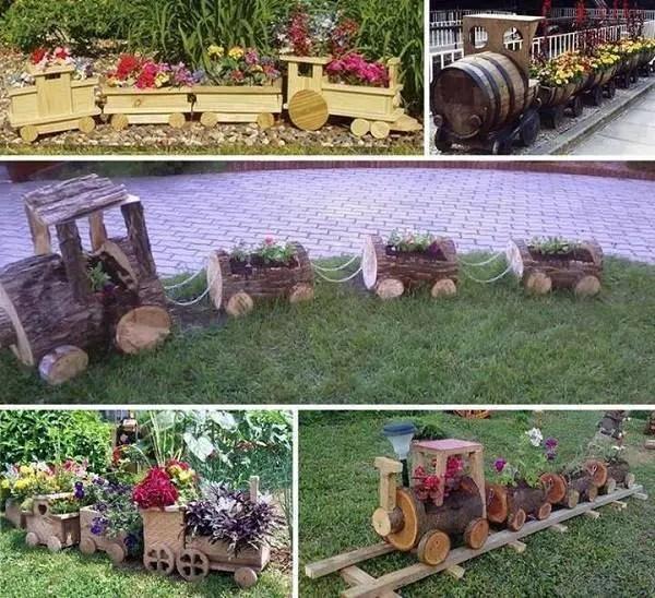 ornamente de gradina din lemn rotund Garden log decorations 7
