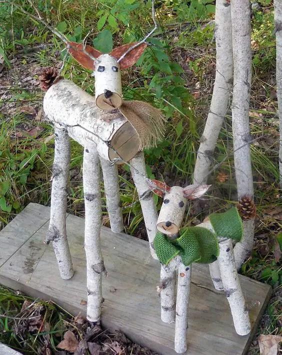 ornamente de gradina din lemn rotund Garden log decorations