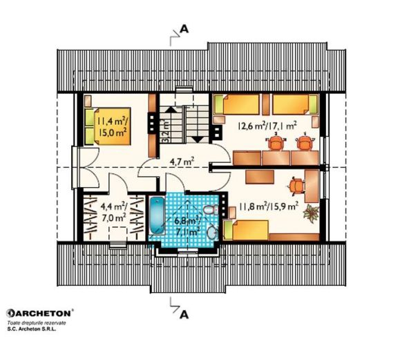 proiecte de case cu semineu House plans with fireplaces 10