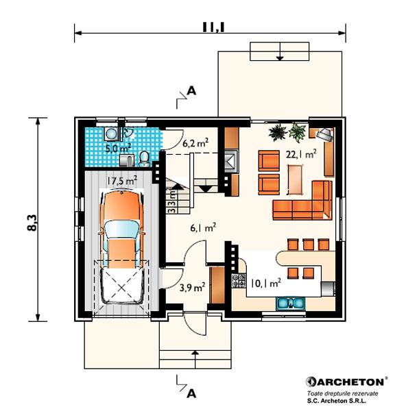 proiecte de case cu semineu House plans with fireplaces 9