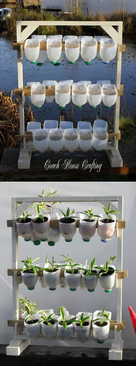 gradini verticale din peturi Plastic bottle vertical garden ideas 1
