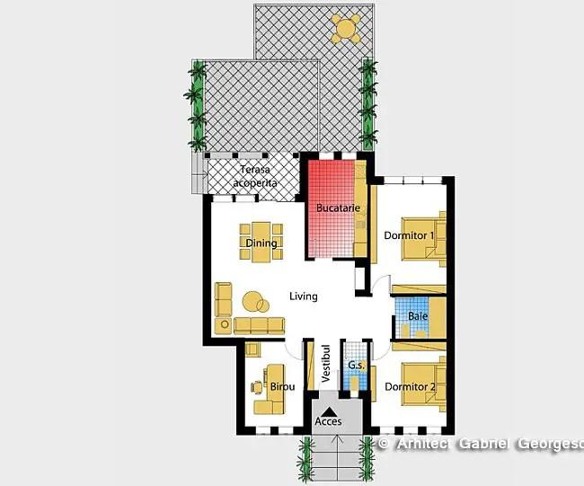 Case cu parter si doua dormitoare Two bedroom house plans 10