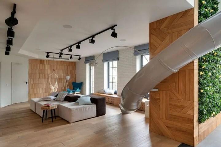 Apartamentul cu topogan - un melanj de texturi captivante