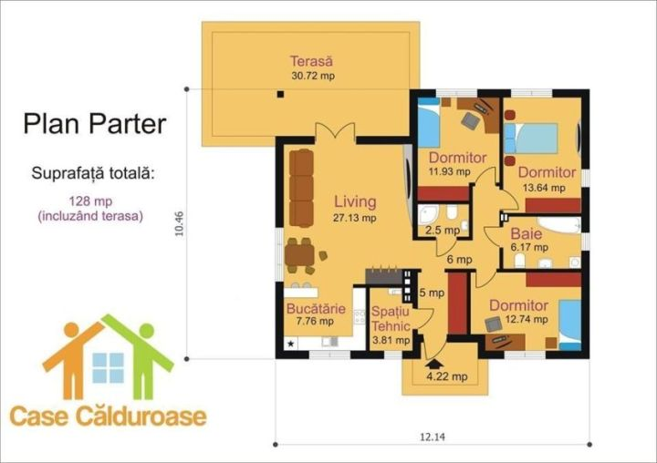 case cu parter si 3 dormitoare three bedroom house plans 8