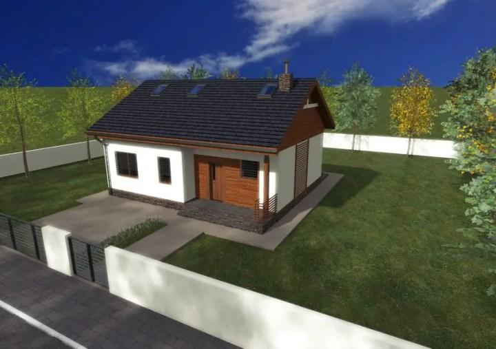 Proiecte de case fara etaj cu 2 dormitoare - design clasic, cu finisaje placute