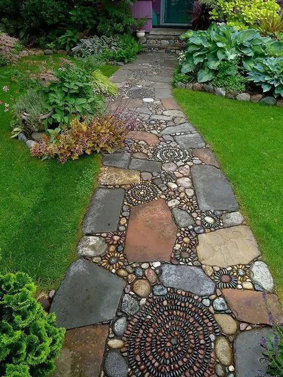 amenajarea gradinii cu pietris Pebble garden decoration ideas 3