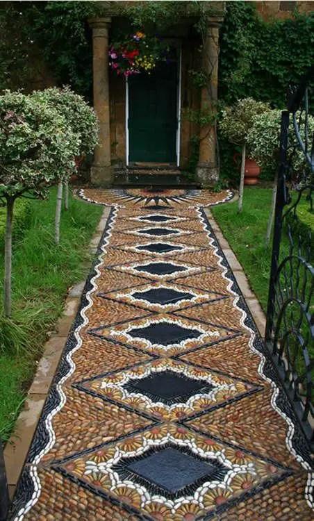 amenajarea gradinii cu pietris Pebble garden decoration ideas 7