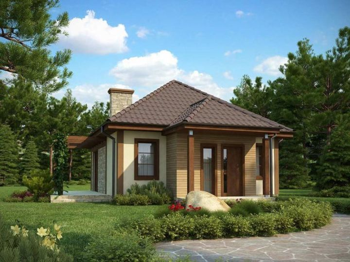 Case cu doua camere - fatade frumoase, cu lemn, piatra si caramida decorativa