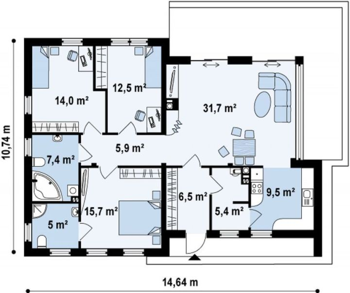 proiecte de case cu parter si 3 dormitoare 3 bedroom single level house plans 7