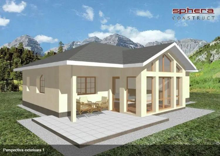 Proiecte de case fara etaj cu 2 dormitoare - fatade transparente