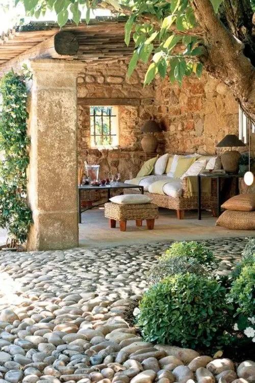 Modele de pavaj cu piatra de rau River stone paver ideas 13