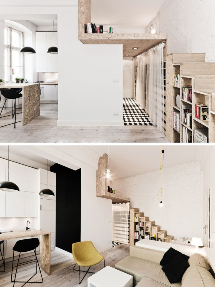 Amenajarea unui apartament de 29 de metri patrati - idei extinse in plan vertical
